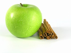 Green apple with cinnamon